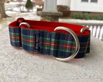 "Anchor's Navy Plaid 1.5"" Martingale Collar"