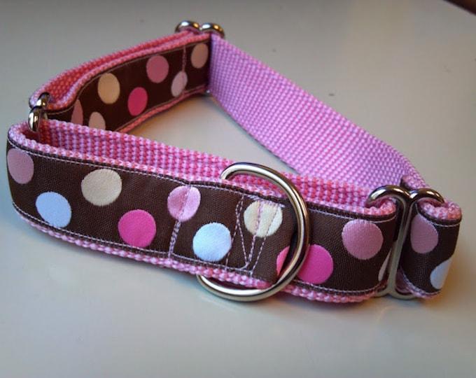 "Blondie's Pink Polka Dots 1"" Martingale Collar"