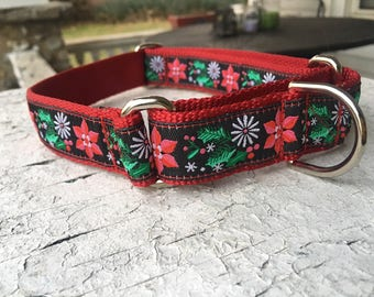 """Trapper's Christmas Poinsettias - 1"""" Martingale Collar"""