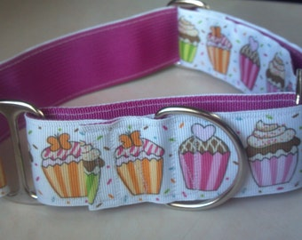 "Birthday Cupcakes - 1.5"" Martingale Collar"