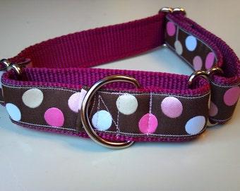 "Bailey's Raspberry Polka Dots 1"" Martingale Collar"