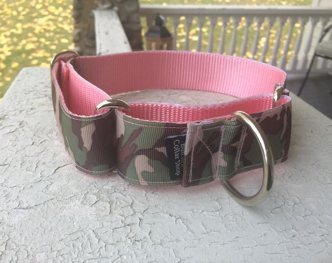"Coco Chanel Pink Camo - 1.5"" Martingale Collar"