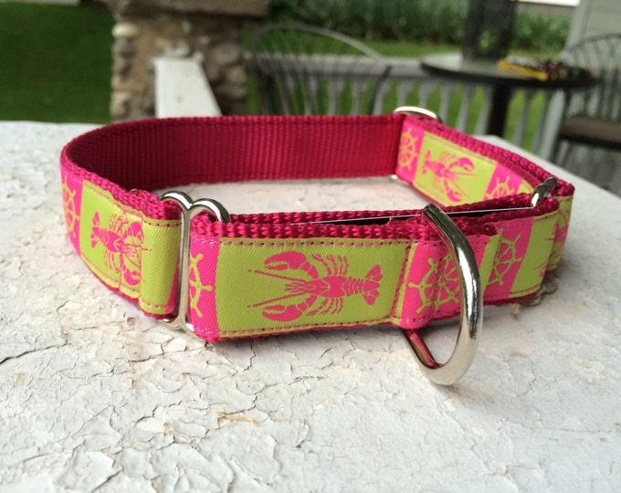 "Lexie's Nautical Lobstahs Pink 1"" Martingale Collar"