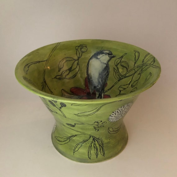 Elevated Floral Bowl with Bird