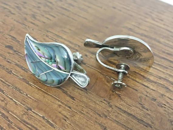 Vintage, 1940s Sterling Leaf Screwback Earrings