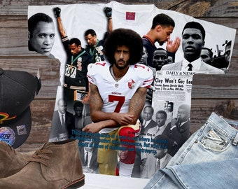 090a9d43066271 Colin Kaepernick T Shirt. With Muhammad Ali and 68 Olympics. MENS AND  LADIES Fitted Tees. Black History T-shirts and Tees.