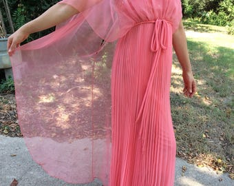 Beautiful vintage 1970's formal long coral dress with chiffon overlay and beading