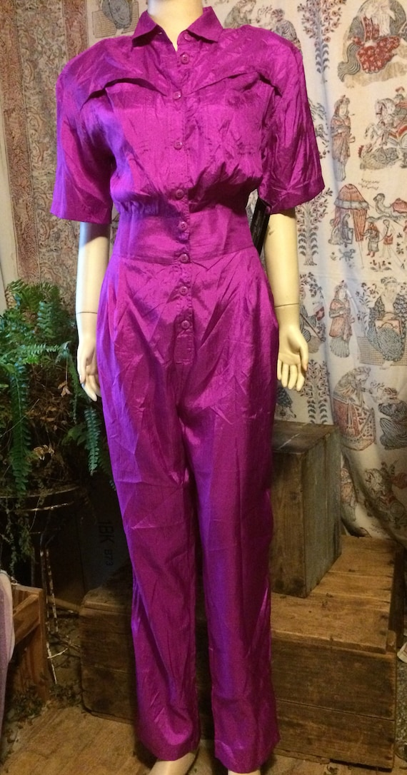 Hot pink silky lightweight polyester jumpsuit