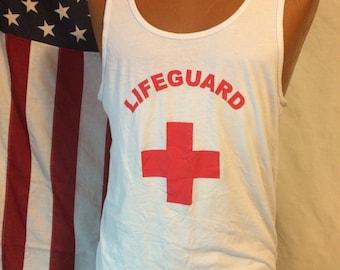 Lifeguard Red Cross retro white tank top