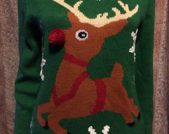Green Holiday sweater with reindeer front