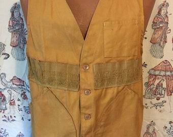 Vintage well worn outdoor sportsman vest