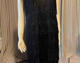 Black flapper fringed costume dress
