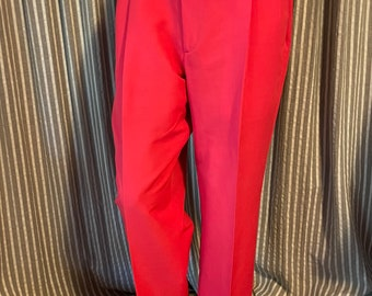 Bright red pleated front men's cuffed slacks