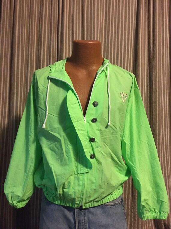 Vintage eighties neon green nylon hoodie jacket