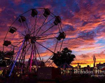 Ferris wheel at Sunset at a local county Fair in Pennsylvania