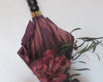 VINTAGE UMBRELLA w/ purple FLOWER, silk umbrella