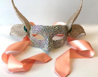 Peach Pegasus Masquerade Mask
