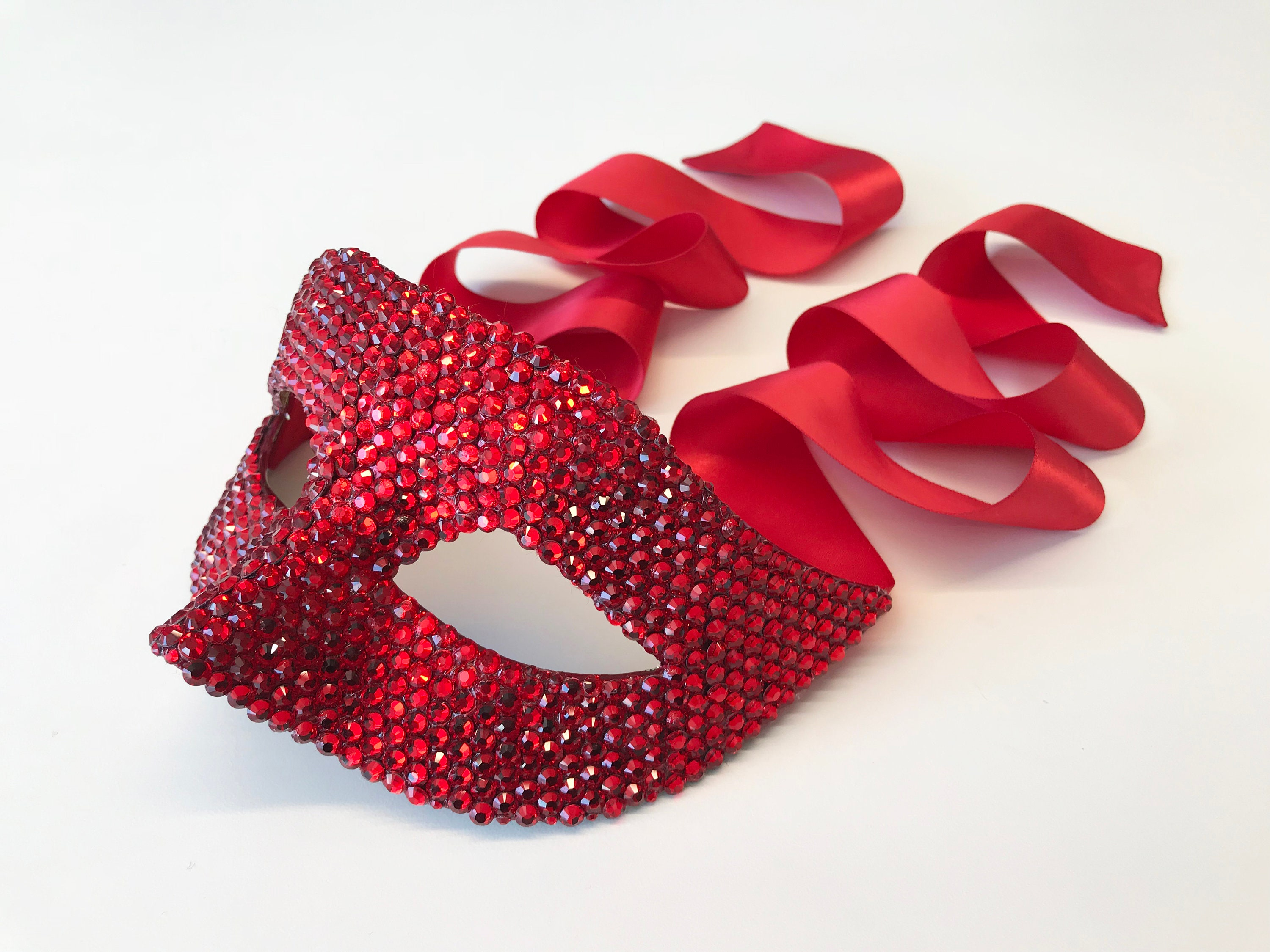Ruby Red Swarovski Crystal Masquerade Mask