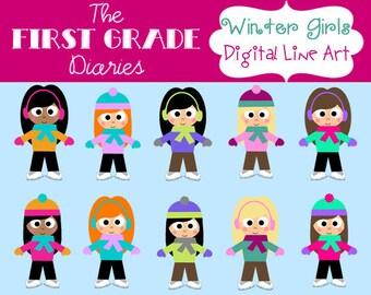 Winter Kids Girl Digital Clip Art Set Ice Skates --BUY 2, GET 1 FREE