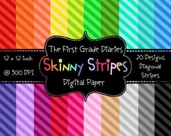Skinny Stripes Digital Scrapbook Paper --Buy 2 GET 1 FREE