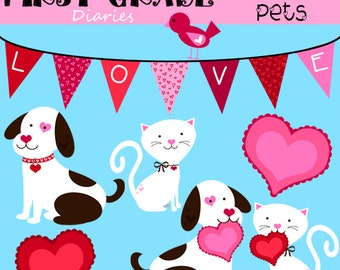 Valentine Pets Digital Clip Art Dog Cat -- Buy 2 GET 1 FREE