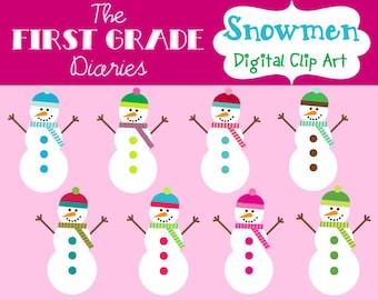 Colorful Snowmen Winter Digital Clip Art -- BUY 2, GET 1 FREE