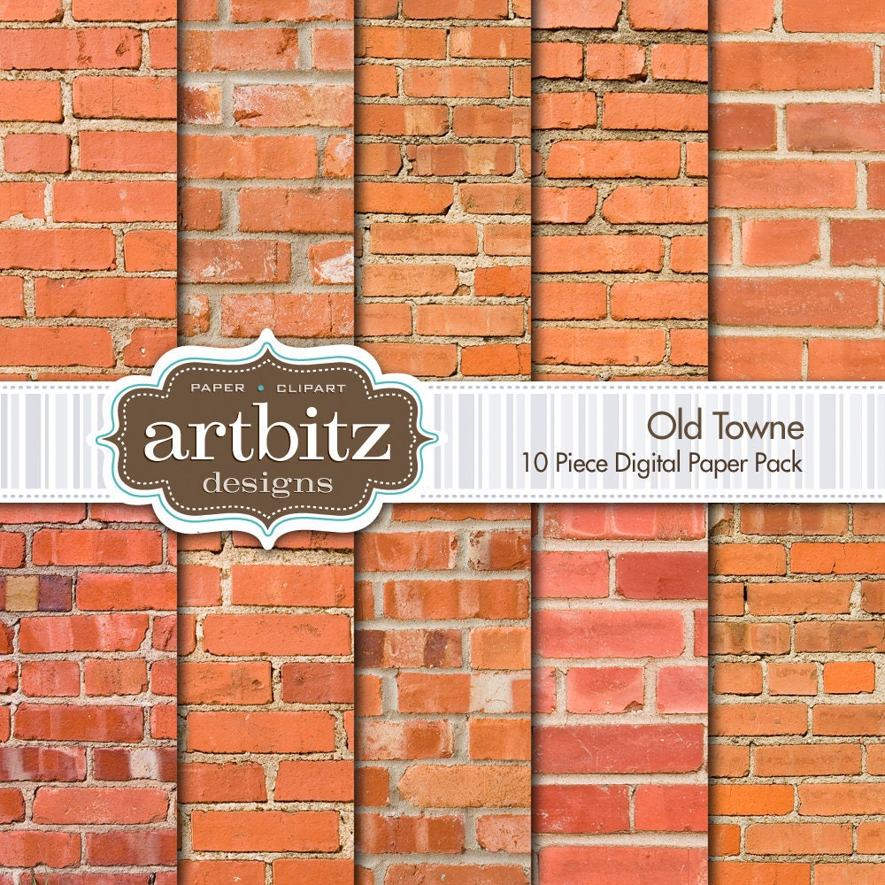 Old Towne 10 pieza ladrillo textura paquete de papel de