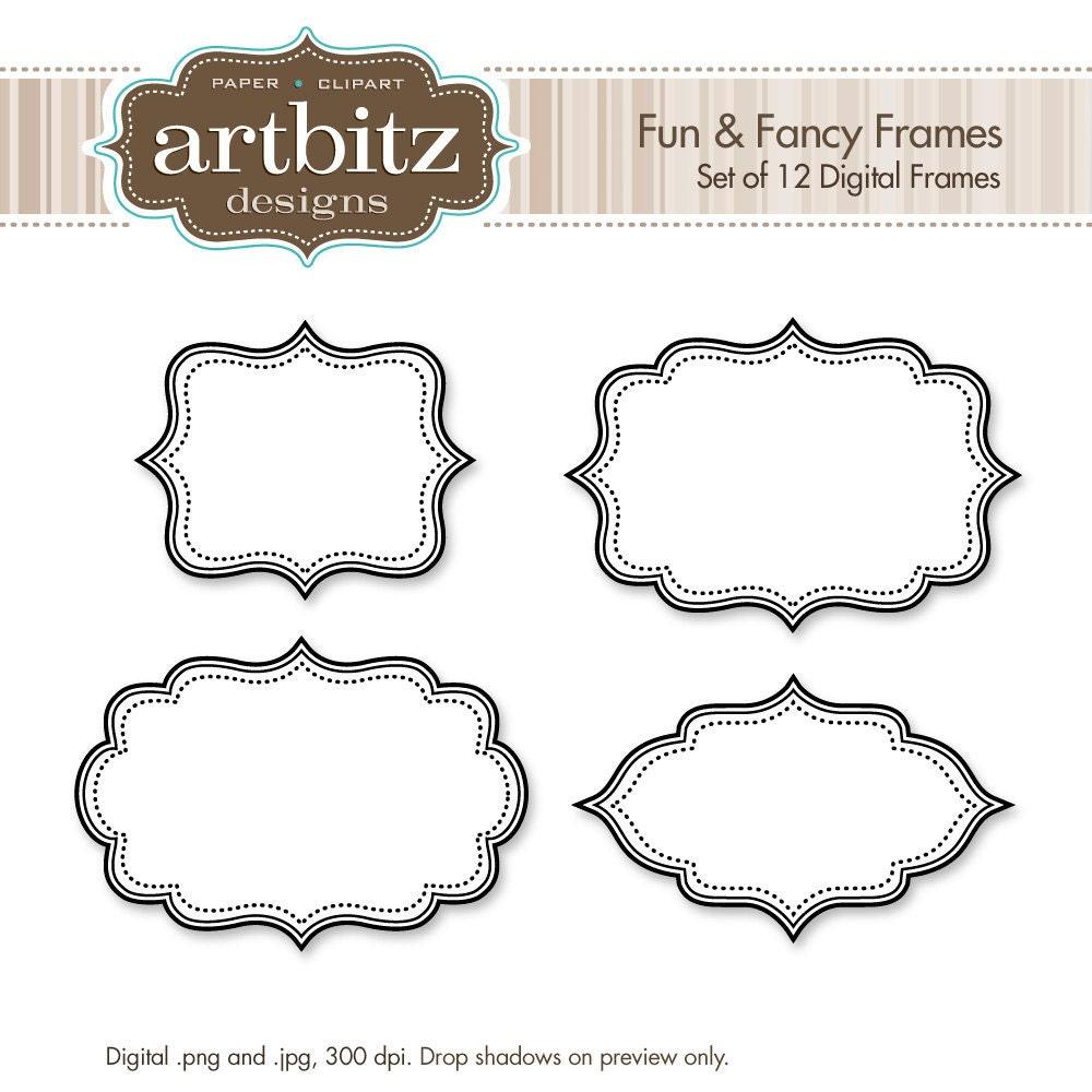 Fun & Fancy Digital Frames Set of 12 No. 20001 Clip Art Kit   Etsy