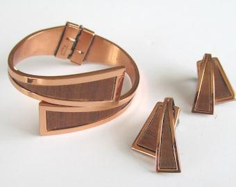Renior Nile copper clamper bracelet and earrings, Copper Jewelry, Renior copper jewelry