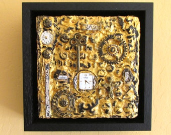 recycled material acrylic collage painting, recycled watch parts, small OOAk painting