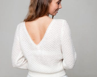 6568998083 Bridal sweater lace with deeper back  look like a princess at your wedding  in off white