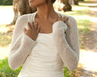 Bridal Shrug knitted of soft skin friendly wool for your wedding dress or tulle skirt, wedding coverup, knit jacket, cardigan, stole, scarf