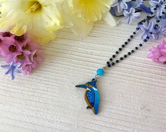 Wood Kingfisher Rosary Necklace with Blue Jade Stones - Natural Bohemian Laser Cut Jewelry Gift Idea with special message