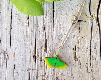 Long Wood Ginkgo Necklace nikel free - Natural Bohemian Laser Cut Jewelry Christmas Gift Idea with special message nature leaves