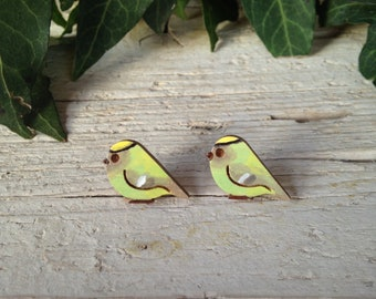 Small Wood Goldcrest Earrings with silver plated studs - Natural Bohemian Laser Cut Jewelry Gift Idea with special message
