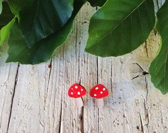Small Wood Mushroom Studs Earrings Silver Plated - Natural Bohemian Laser Cut Jewelry Christmas Gift Idea with special message nature woods