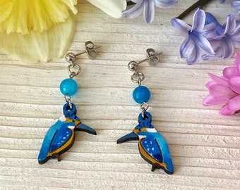 Small Wood Kingfisher Dangling Earrings with Jade Stones - Natural Bohemian Laser Cut Jewelry Gift Idea with special message