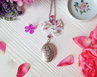 Exclusive natural solid perfume with necklace and locket Tea Party by Daffodil Bijoux - romantic vintage style jewels