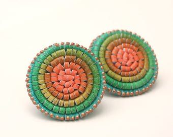 Leather Shoe Clips Painted Green Orange Rosette