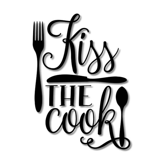 Kitchen Wall Clip Art: Kiss The Cook Kitchen Stencil // Wood Sign // Wall Decor