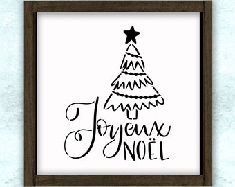 Joyeux Noel Primitive Christmas Stencil // reusable // wall decor // painting // craft