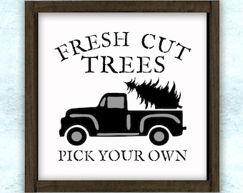 Fresh Cut Trees Pick Your Own Vintage Truck Stencil // reusable // wall decor // painting // craft