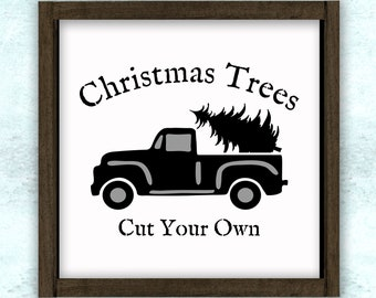 Christmas Trees Cut Your Own Vintage Truck Stencil // reusable // wall decor // painting // craft
