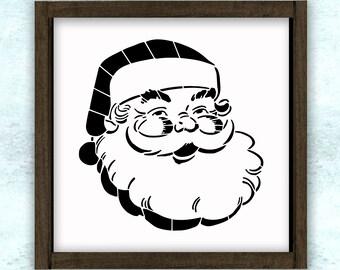 Santa Claus Face Christmas Holiday Stencil // reusable // wall decor // painting // craft