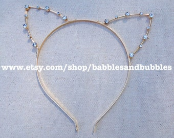 Handmade Crystal Cat Ear Tiara - Cat Ear Headband - Cat Ears Head Band - Cat Tiara - Cat Ears - Gold Bridal Tiara - NEXT DAY SHIPPING