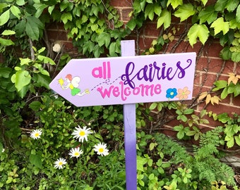 Fairy Garden Outdoor Garden Sign With Or Without A Stake