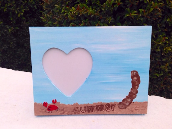 Handprint Footprint Beach And Palm Trees Picture Frame Etsy