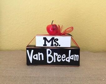 Custom Teacher Appreciation Wood Block Name Shelf Sitter