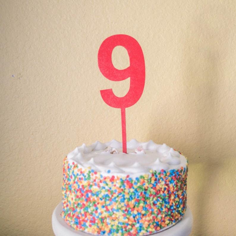 Number Nine Birthday Cake Topper Wood 9