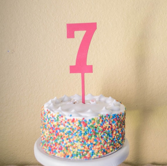 Number Seven Birthday Cake Topper Wood Number 7 Etsy